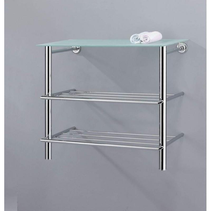 Scaffale A Muro Metallo.Mensola Scaffale Pensile Per Bagno In Metallo Ripiano Vetro