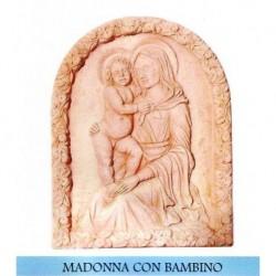 PANNELLO TARGA A MURO MADONNA CON BAMBINO MATTONELLA ARTE SACRA