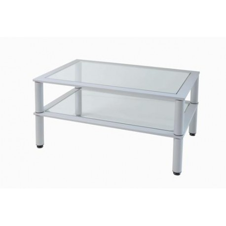 Tavolino da Salotto in metallo silver e vetro