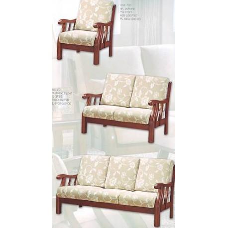 divano 3 posti in legno massello seduta imbottita tessuto damascato ...