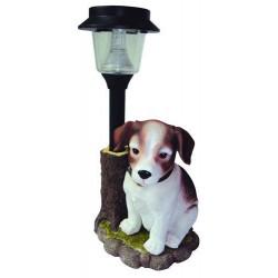 LAMPADA AD ENERGIA SOLARE CANE IN RESINA STATUA ARREDO GIARDINO