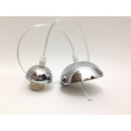 Attacco lampadario montatura cromato completo ricambio per sospensione soffitto