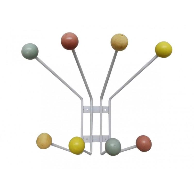Pomelli Appendiabiti Colorati.Attaccapanni Moderno A Muro In Metallo 8 Posti Pomelli In Legno