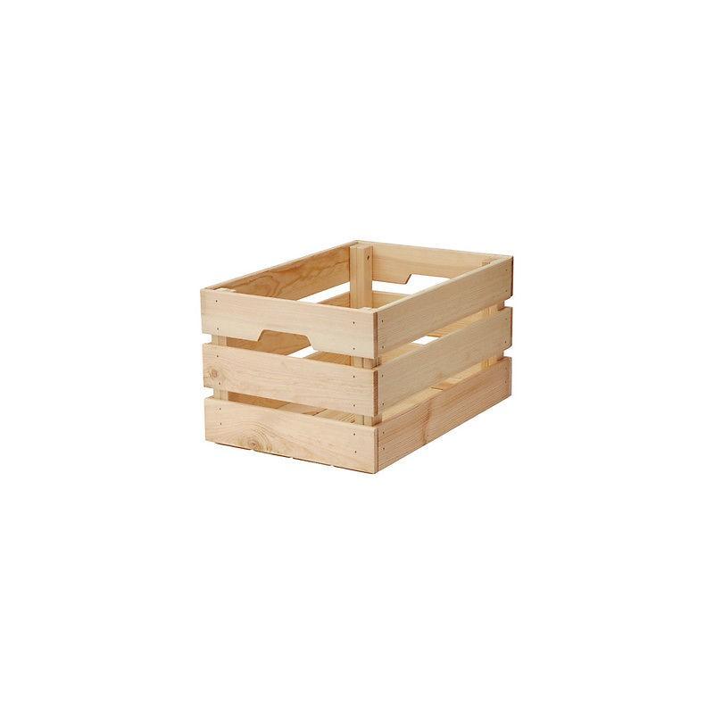 Cassetta legno naturale multiuso impilabili ripostiglio for Cassette di legno ikea