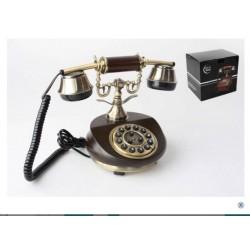 TELEFONO IN legno funzionante vintage TELEFONO STILE ANTICO MANOVELLA