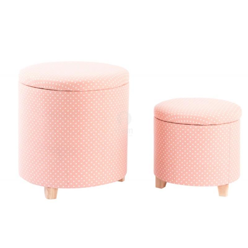 Pouf Tondo Contenitore.Pouf Panca Contenitore Set 2 Pezzi Tondo Impilabili In Tessuto Rosa