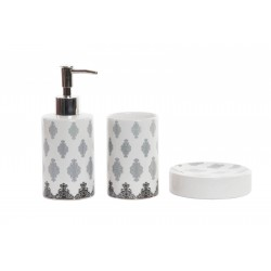 BAGNO ACCESSORI LAVABO IN CERAMICA + PORTA SCOPINO SET COMPLETO DECORATO
