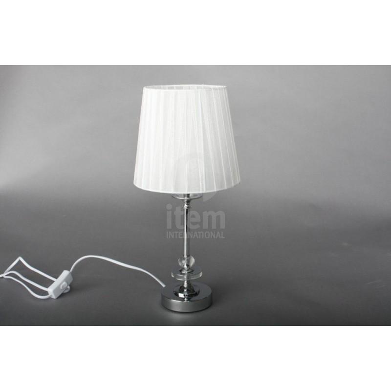 Lampada Da Tavolo In Acciaio Cromato Con Paralume Bianco Lume Da Camera Ilbottegone Biz