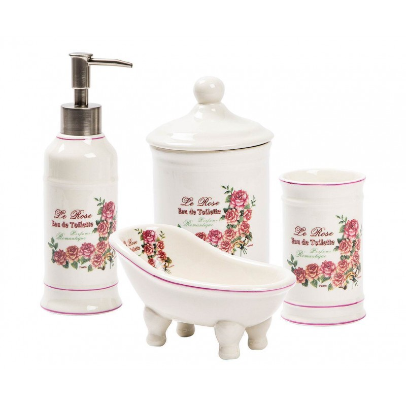 Accessori Bagno In Ceramica Decorata.Accessori Bagno In Ceramica Set Bagno Kit Da Appoggio Portasapone Arredo Bagno Ilbottegone Biz