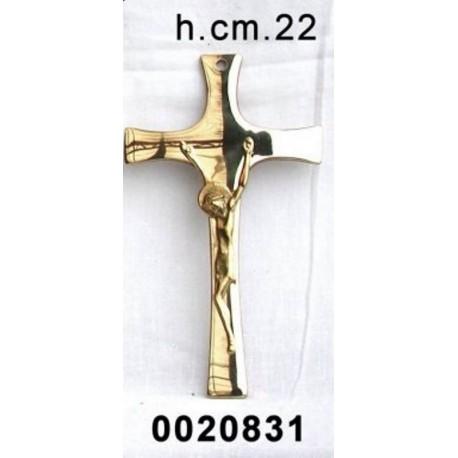 Croce moderna Crocifisso a muro in metallo ottonato lucido