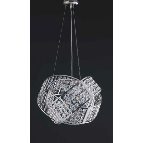 LAMPADARIO SOSPENSIONE VETRO LAMPADA DESIGN TIPO SWAROVSKI 6 LUCI MADE ITALY