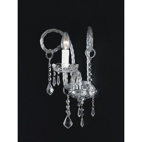 APPLIQUE A MURO  LAMPADARIO DESIGN APPLIQUES 1 LUCE LAMPADA A PARETE CRISTALLO