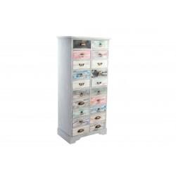Cassettiera in legno 20 cassetti colorati anticati stile shabby