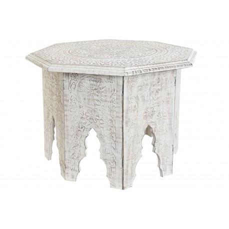 Tavolino Etnico in legno shabby pieghevole tavolino comodino tondo traforato
