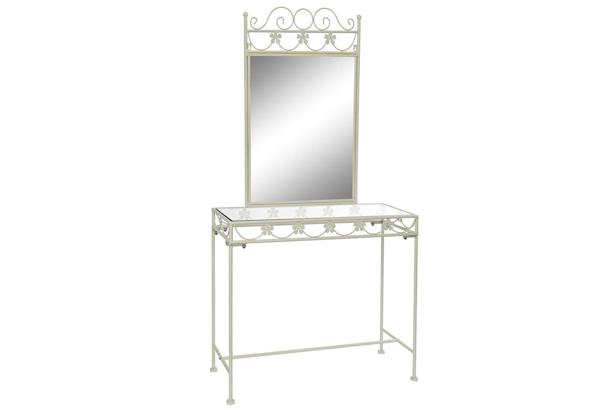Consolle In Ferro Battuto Con Specchio.Consolle Toilette Con Specchio In Ferro Battuto Bianco Per Entrata Camera Trucco Ilbottegone Biz