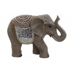 Elefante Figura in resina decorata Marrone
