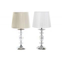 COPPIA lampade soggiorno camera in acciaio cromato paralume poliestere