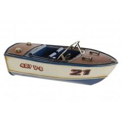 motoscafo modellino in latta soprammobile per arredamento barca miniatura
