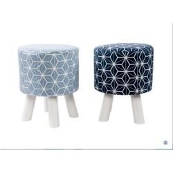 poggiapiedi pouf in legno imbottito gambe in faggio naturale sgabellino bagno