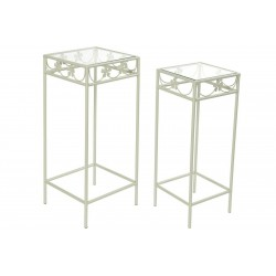 tavolino giardino set 2 tavolini in ferro battuto con piano in vetro porta vaso