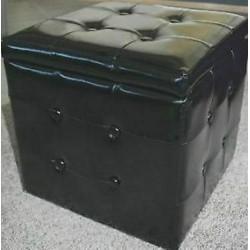 Cassapanca Sgabello Contenitore pouf in legno rivestimento ecopelle nero