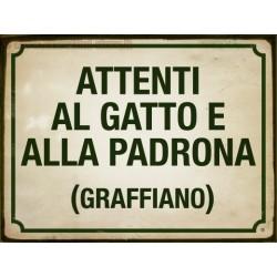 TARGA IN LATTA DETTI PROVERBI ANTICHI ITALIANI ATTENTI AL GATTO E ALLA PADRONA